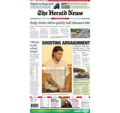 The front page of The Herald News of Fall River, Mass., for Thursday, May 30, 2013.