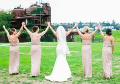 The girls that stand next to you on your BIG day are like family.  This beautiful shot was taken at Gasworks park in Seattle, Wa.  Photos by Clane Gessel Photography   #weddings #brideandbridesmaids #bridesmaids