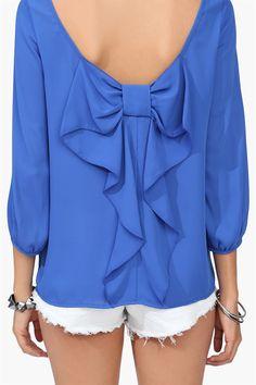 Blue Bow Back Blouse <3