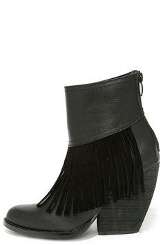 Very Volatile Khloe Black Fringe Booties at Lulus.com!