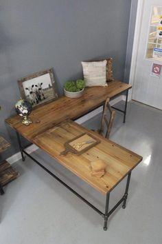 Wooden L Shaped Desk, Wood Desk, Pipe Desk, Reclaimed Wood, Industrial Desk… Diy Computer Desk, Diy Desk, Ikea Desk, Gaming Desk, Pipe Furniture, Office Furniture, Cheap Furniture, Timber Furniture, Trendy Furniture
