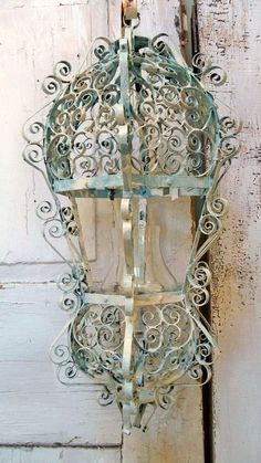 Shabby chic ornate candle lantern metal distressed hand painted scroll style home decor ooak Anita Spero.