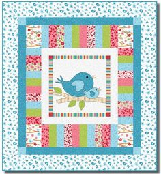 = free pattern = Lovebirds quilt, 40 x by Heidi Pridemore for RJR Fabrics (includes bird templates). Free pattern day at Quilt Inspiration. Quilt Baby, Cot Quilt, Baby Girl Quilts, Girls Quilts, Baby Patchwork Quilt, Colchas Quilting, Quilting Projects, Quilting Designs, Quilting Ideas