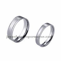 anillo de estilo simple en acero plateado inoxidable para amantes -SSRGG971704