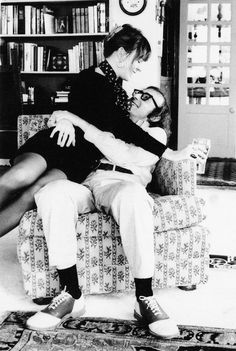 [ If my films make one more person miserable, I'll feel I have done my job.] - Woody allen. photo: Diane and Woody Allen from annie hall