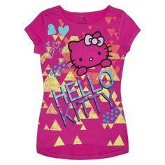 Hello Kitty Girls' Short-Sleeve Tee -  Pink...love the tripendicular look!