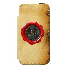 ANTIQUE ROMAN BRONZE MEDALLION REDWAX SEA MONOGRAM INCIPIO WATSON™ iPhone 5 WALLET CASE