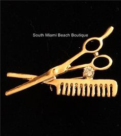 Stylist Crystal Pin Brooch Scissors Comb Hair Dresser Graduation Gift Gold #Unbranded