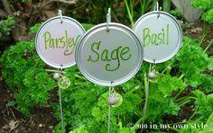Repurposed Lids--- Jeweled Garden Labels.