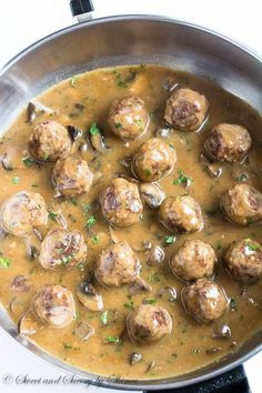 Juicy tender meatballs are first pan-fried for deliciouslycrispy exterior and then smothered in hearty mushroom gravy! This beef meatball recipe is a keeper!