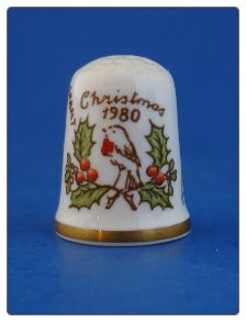 Caverswall Christmas 1980 Porcelain Thimble Birds Musicians Holly