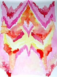 Ikat Inspired Original Abstract Watercolor Painting - LanasArt
