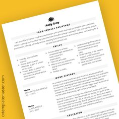Food services assistant free CV template