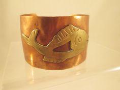 Copper Cuff Bracelet Brass Fish Symbol Hammered by VintageBADTIQUE