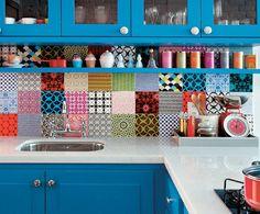 azulejo colorido para cozinha