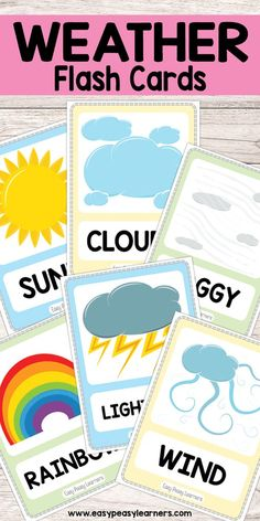 Free Printable Weather Flash Cards is part of Preschool weather - Weather Activities Preschool, Teaching Weather, Free Preschool, Preschool Science, Preschool Learning, In Kindergarten, Learning Activities, Preschool Activities, Science Classroom