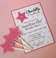 American Girl Inspired Invitation Girl Birthday by BloomingEvents, $18.00