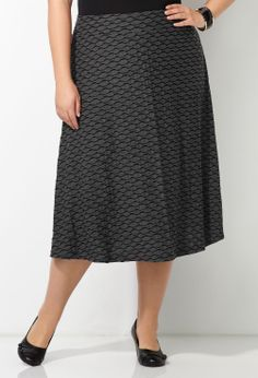 Wavy Print Skirt-Plus Size Pull-On Skirt-Avenue
