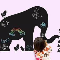 Wandgestaltung im Kinderzimmer mit Tafelsticker Elefant und Vögel, wallcandy arts, einfach wieder ablösbar