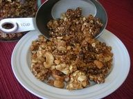 YUMMY HOMEMADE GRANOLA-Found this on Pinterest, made it, added my own twist and ingredients. Delicious! Must try.