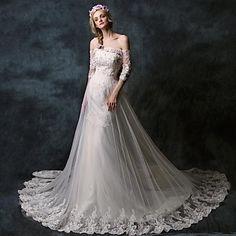 Trumpet/Mermaid Off-the-shoulder Chapel Train Lace Wedding Dress - USD $ 299.99