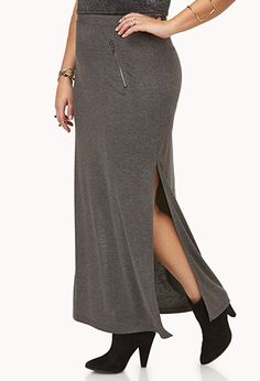 LONG  FLEXIBLE SKIRT WITH SLIT ,CURVES TO YOUR BODY @ FOREVER 21