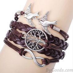 Cheap Unique Life Tree Pigeons Infinity Bracelet For Big Sale!Unique Life Tree Pigeons Infinity Bracelet represent the life and peace and love. It will be a perfect gift for her Woven Bracelets, Cute Bracelets, Bracelets For Men, Fashion Bracelets, Fashion Jewelry, Leather Bracelets, Infinity Bracelets, Bangles, Charm Bracelets