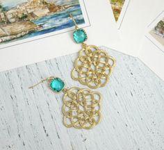 Gold filigree earrings Blue Gold Chandelier Earrings Gold Celtic Knot Earrings Celtic Earrings Blue Drop Earrings Blue Earrings by FranceProvence #TrendingEtsy