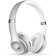 Beats By Dr. Dre Silver Beats Solo 3 On-Ear Wireless Headphones ($300) ❤ liked on Polyvore featuring silver