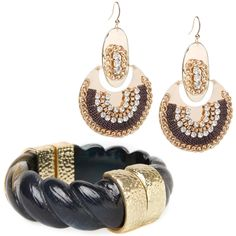 opulent plated teardrop earrings and this ornate cuff bracelet