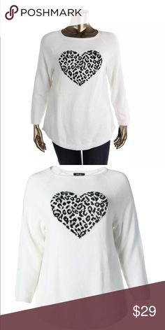 Style&CO B/W Animal Print Heart Pullover Sweater0X Style&CO Black and White Animal Print Heart Pullover Sweater Top Plus0X Crewneck Acrylic.Just a little more room then an XL ! NWT Style & Co Sweaters Crew & Scoop Necks