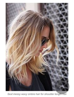 Medium length, ombre blonde hair.   Best for fine hair!
