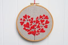 Hand Embroidered Heart Tree Stitches in 6 inch Hoop by lazydoll