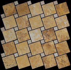 Mozaika marmurowa -  Kolekcja: Tetra 5015 Wave; Kod: TW501510; Wykończenie: ANTICO; Materiał: Travertino Gold, Travertino Navona; Wym. Kostki: 5,0x5,0 cm, 1,5x1,5 cm; Wym. Plastra:  28,7x28,7 cm