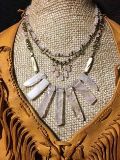 Handmade Tribal Plasteron Genuine Pink Rose Quartz Stones Bovine Bone layered 3 tiered Boho Bib Collar Necklace Jewelry by WishboneJewelryCraft on Etsy