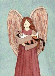 Draw Cats Calico cat cradled by angel / Lynch signed folk art print by watercolorqueen on Etsy - Gato Calico, Calico Cats, Gato Angel, Beau Gif, Cat Art Print, Arte Popular, Angel Art, Cats And Kittens, Ragdoll Kittens