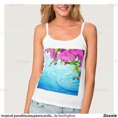 tropical paradise,zen,peace,orchid,blue water,yoga spaghetti strap tank top
