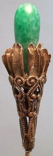 Antique Victorian Long Hat Pin Green Stone Gold Pins Vintage Vanity | eBay