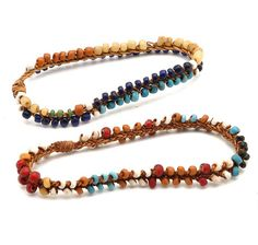 Africa | Bracelets from the Bassouto people of Lesotho | 20th century | Glass beads and vegetable fiber