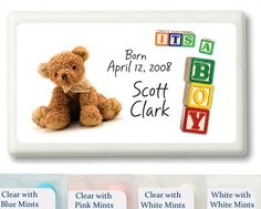 It's a Boy Baby Block Personalized Mint Favors
