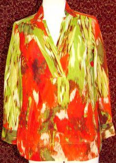 TALBOTS soft artsy orange bohemian long sleeve tunic blouse 2  (T47-08C7G) #Talbots #Blouse #Casual