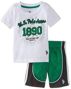 U.S. Polo Assn. Baby Boys' T Shirt and Mesh Athletic Short Set, Cobalt Green, 18 Months U.S. Polo Assn.   #clothe