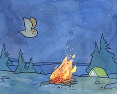 Owl and Campfire – camping illustration   100 owls