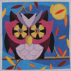 Raymond Crawford Autumn Owl Hand Painted Needlepoint Canvas #RaymondCrawford