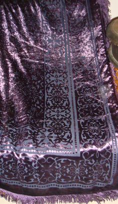 Purple Burn-Out Velvet Decorative Throw Blanket With Fringe Trim Edges 50x60 #Unbranded #BaroqueRococoStyle