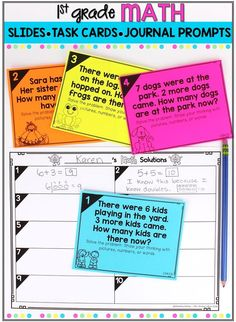 Help first grade students learn to represent and solve problems involving addition and subtraction with daily math warm ups. The math warm ups can be used as morning work activities, math talk lessons, math centers, or exit tickets. These math task cards, journal prompts, and interactive slides align with the Operations & Algebraic Thinking common core standards #teachingmath #firstgrade