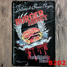 BURGER ADDICT Letters Tin Sign Retro Metal Painting Barbecue BBQ plaque Shop Bar home decoration Wall Decor Vintage Iron Signs