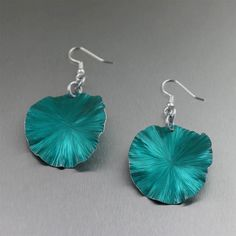 Teal Anodized Aluminum Lily Pad Earrings by johnsbrana on Etsy, $40.00