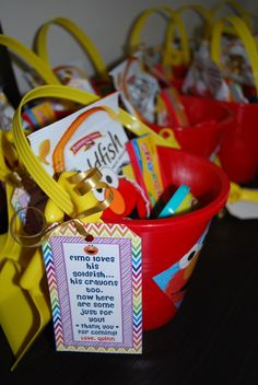 "Favors at a Sesame Street Party. ""Elmo loves his goldfish, his crayons, too. Now here's some just for you. Second Birthday Ideas, Birthday Fun, First Birthday Parties, Birthday Party Themes, First Birthdays, Elmo Party Favors, Toddler Party Favors, Party Prizes, Birthday Board"