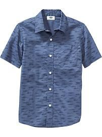 Boys Patterned Short-Sleeve Shirts